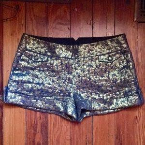 Express Gold Metallic Shimmer Shorts